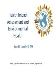 Health Impact Assessment and Environmental Health 2017