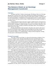 1_The Balance Sheet as an arnings Managemnt Constrain
