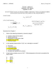 CHEM111 Fall 2013 Exam I Key (Practice)