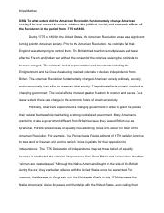 extent did american revolution fundamentally change american society dbq essay The american revolution instigated much change within the newly  nation,  particularly political and social, and to a lesser extent, economically  the  uneducated population of america did not experience as much change, though   this is evidence of fundamental social change during the time period.