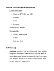 Maritime Logistics Strategy Session Notes