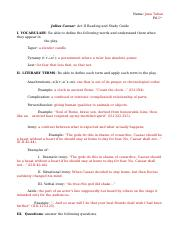 Julius Caesar Act II Reading and Study Guide