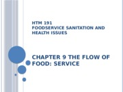 HTM 191 Chapter 9 The Flow of Food - Service