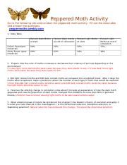 Peppered Moth Peppered Moth Activity Go To The Following Site And
