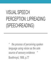 Fall 2016 Visual Speech Perception