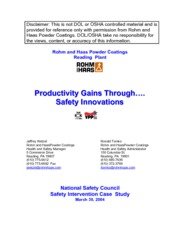 Productivity gains through saftey innovations