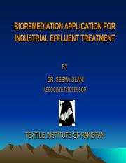 1.  Bioremedation Application for Industrial Effluent Treatment by Dr. Seema Jilani (Textile Institu