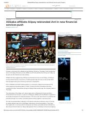 Alibaba affiliate Alipay rebranded Ant in new financial services push _ Reuters