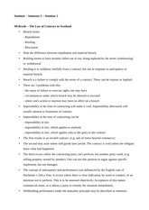 Contract Law - Seminar Notes - Types of Breach in Contract Law - Semester 2, Seminar 2