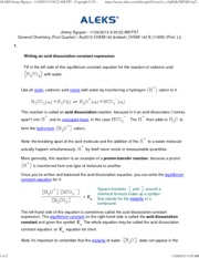 Writing an acid dissociation constant expression1