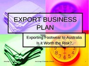 EXPORT BUSINESS PLAN
