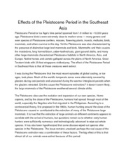Effects of the Pleistocene Period in the Southeast Asia