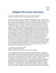 Religion Discussion Questions