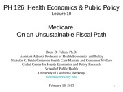 PH126 10. Medicare - On an Unsustainable Fiscal Path 02.19.15b