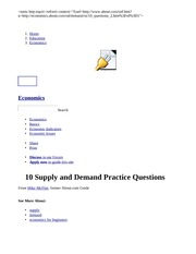 10 Supply and Demand Practice Questions
