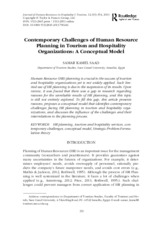 Contemporary Challenges of Human Resource Planning in  Tourism and Hospitality Organizations
