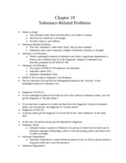 CH 10 Notes: Substance Related Problems