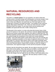Natural Resources And Recycling