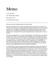 audience analysis memo Author and audience purposes setting  deliverables: does the project document include all 3 parts (the reflection memo, your rhetorical analysis memo,.