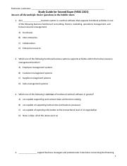 Second Exam StudyGuide_MSIS 2301_SPRING_2017__STUDENTS_Updated(1).doc