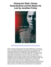 Chiang Kai Shek Chinas Generalissimo and the Nation He Lost by Jonathan Fenby - Biography Of A Sup