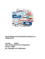 Social Media and the Beneficial Impacts on Adolescents.docx