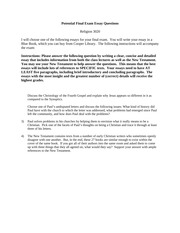 Potential Final Exam Essay Questions - Clemson(2)