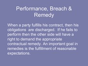 Performance, Breach and Remedies c16 and 17