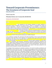 Sean Jasso's The Preeminent Corporation Essay One of Three - Philosophy for Business January 2012