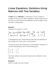 Linear Equations- Solutions Using Matrices with Two Variables