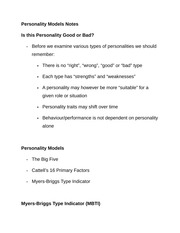 Personality Models Notes