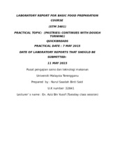 9) LABORATORY REPORT FOR BASIC FOOD PREPARATION COURSE