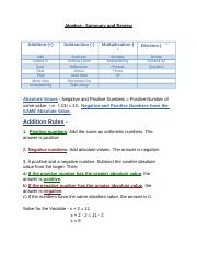 Algebra - Summary and Review