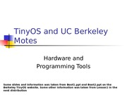 TinyOS and UC Berkeley Motes