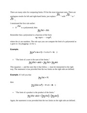 Properties of Limits and Squeezing Theorem Notes