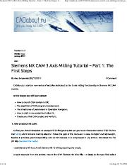 Siemens NX CAM 3 Axis Milling Tutorial – Part 1_ The First
