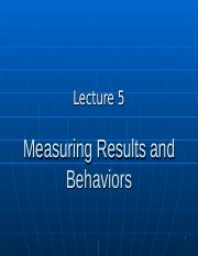 BUS20305 Lecture 5 Measuring results and behaviors