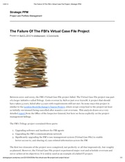 the fbi virtual case file Analysis of fbi's virtual case file analysis of fbi's virtual case file 1780 words | 8 pages virtual case files -- project triology 4670 words | 19 pages.