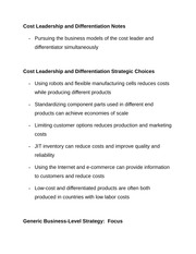Cost Leadership and Differentiation Notes