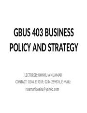 BUSINESS POLICY AND STRATEGY MODULES 1, 2, AND 3 FEBRUARY,  2016