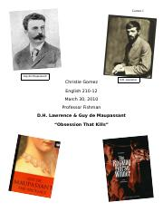 "Literary Criticism Research Paper: D.H. Lawrence & Guy de Maupassant ""Obsession That Kills"""