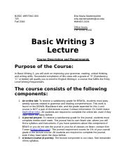 BASIC WRITING 003_Syllabus_Fall 2016 _With Full & Revised Course Schedule