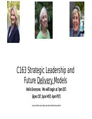 C163 Strategic Leadership and Future Delivery Models April, 2019.pptx