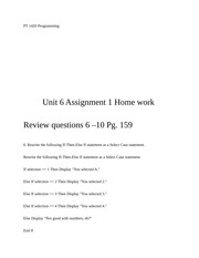 Unit 6 Assignment 1 Home work