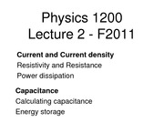 Physics II - Lecture 3 (Current&Resistance)
