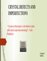 16MD31 - CRYSTAL DEFECTS AND IMPERFECTIONS