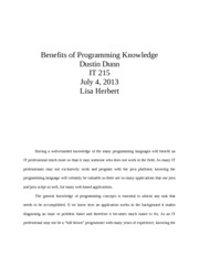 Benefits of Programming Knowledge IT 215