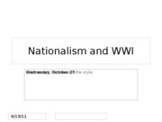Lecture 16 -- Nationalism and WWI