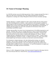 D1 Nature of Strategic Planning