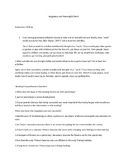 Happiness and Meaningful Work Worksheet and Solutions